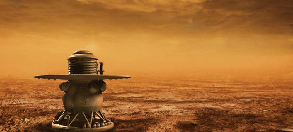 Ilustração artística da sonda Venera sobre a superfície de Vênus