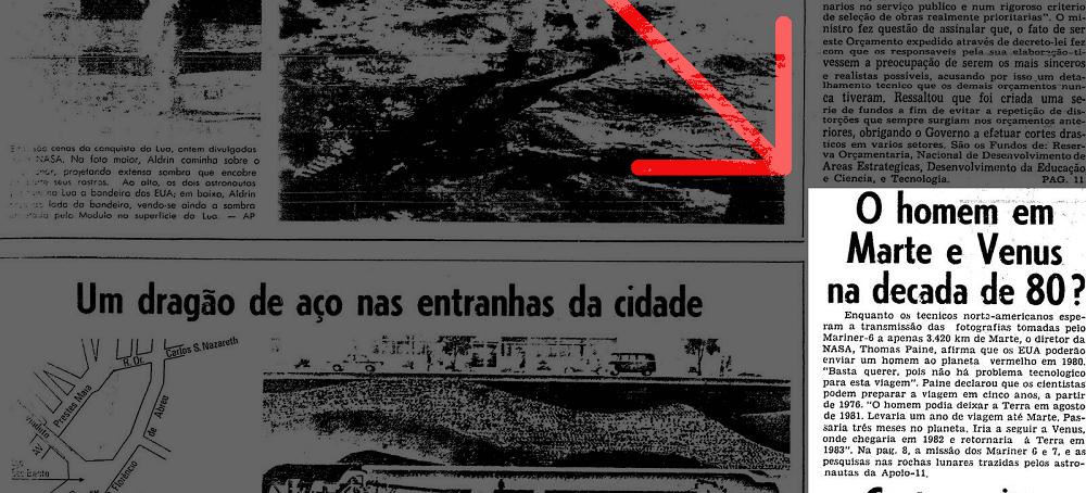Jornal de 1969 mostrando depoimento do diretor da NASA, Thomas Paine, informando que o homem poderia visitar Marte Vênus na década de 80