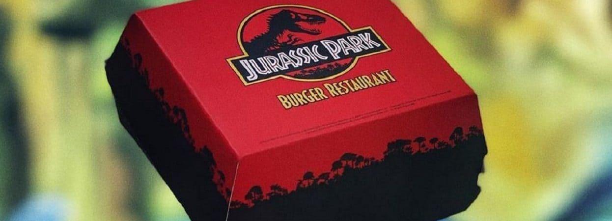 Caixa de hamburgueria temática de Jurassic Park