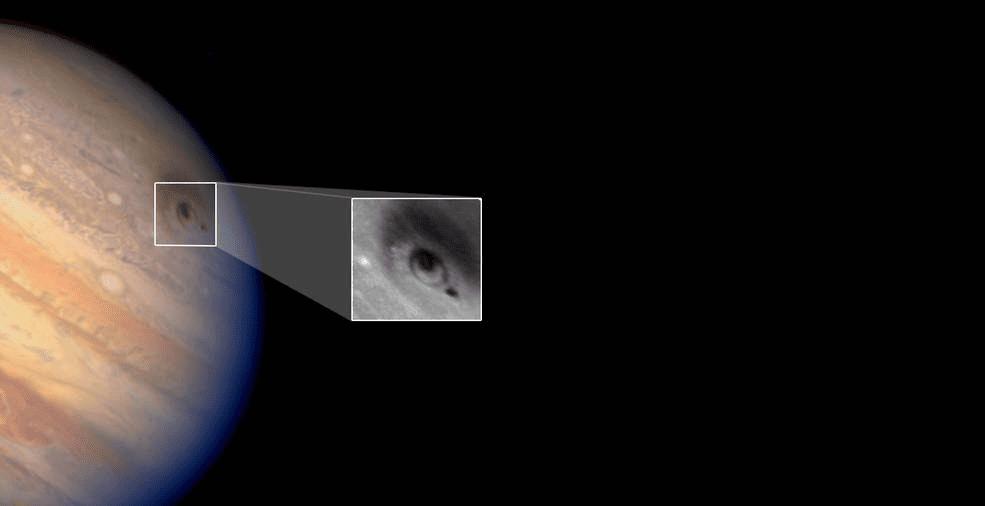 Ubicación del impacto de uno de los fragmentos del cometa Shoemaker-Levy 9 sobre Júpiter