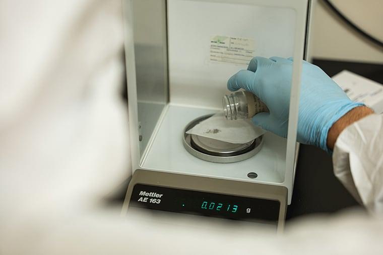 Meteorite material being examined