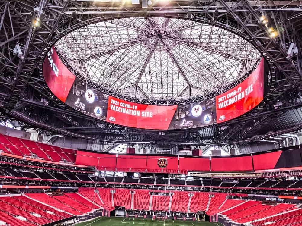 Mercedes-Benz Stadium, em Atlanta, nos Estados Unidos