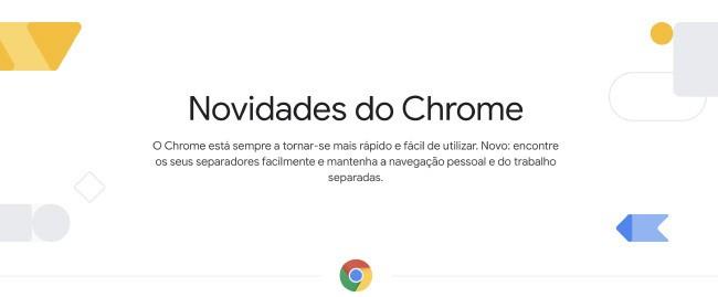 Cabeçalho da página de novidades do Chrome