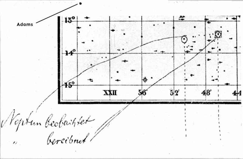 Pedaço do mapa celeste utilizado para localizar Netuno, mostrando seu deslocamento observado e a posição calculada por Adams