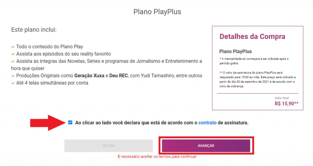 Print do site oficial do PlayPlus