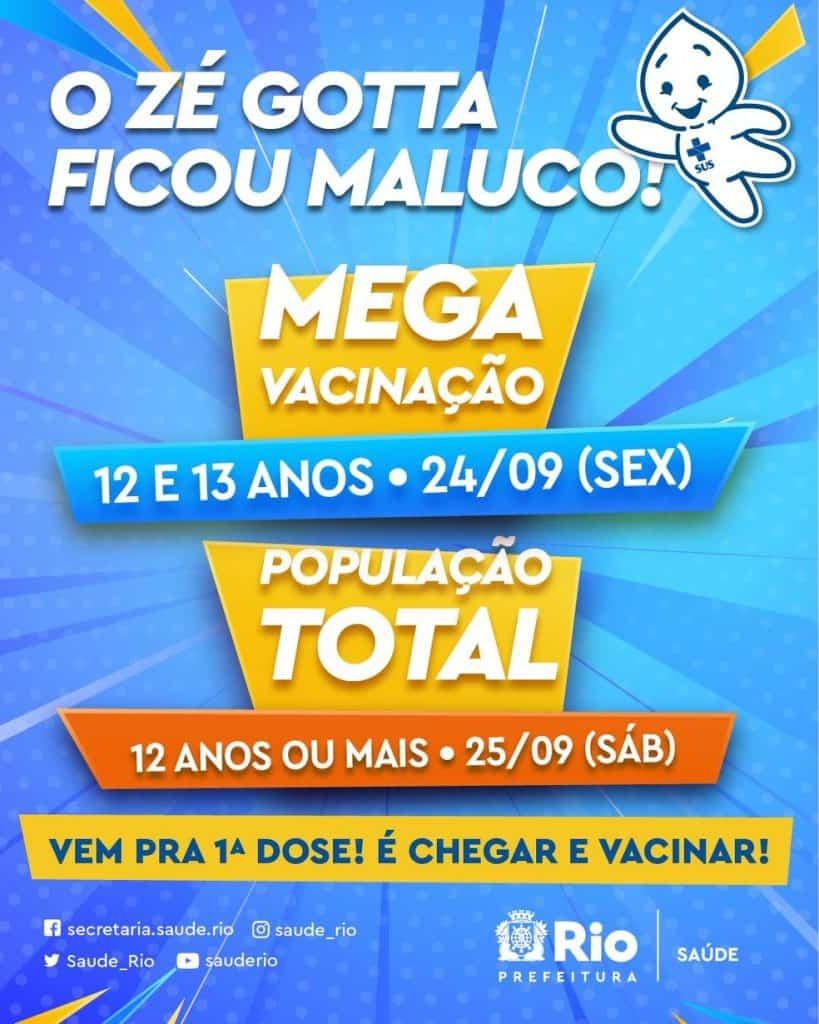 Cartaz da repescagem de vacinação no Rio de Janeiro