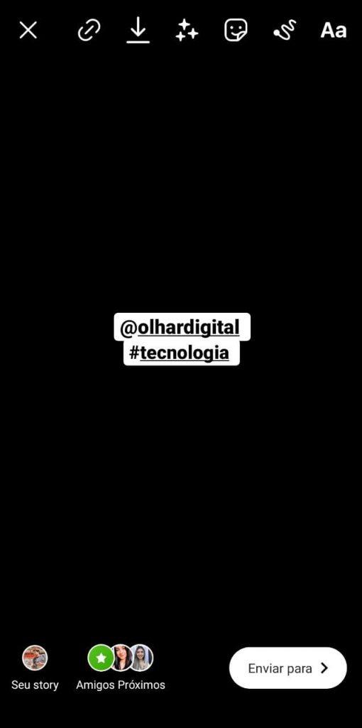 Print do aplicativo do Instagram