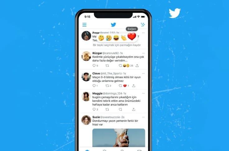 Twitter inicia testes com quatro novas reações na rede social. Imagem: Reprodução Twitter