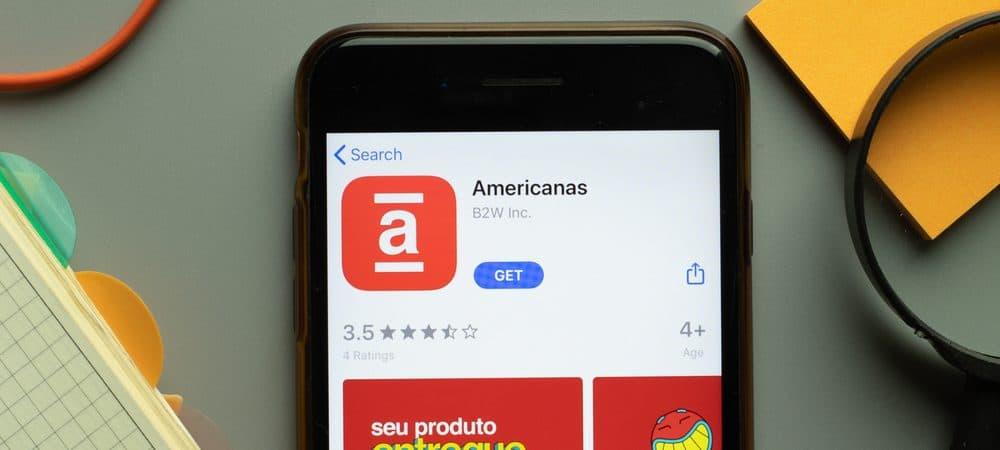 Logotipo do aplicativo móvel da Americanas na tela de um telefone