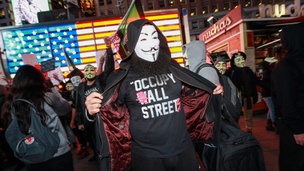 protester with mask wearing T-shirt written occupy all streets at protest in united states with several masked people
