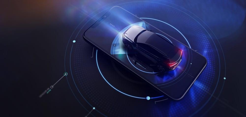 Ilustração mostra um carro em cima de um smartphone