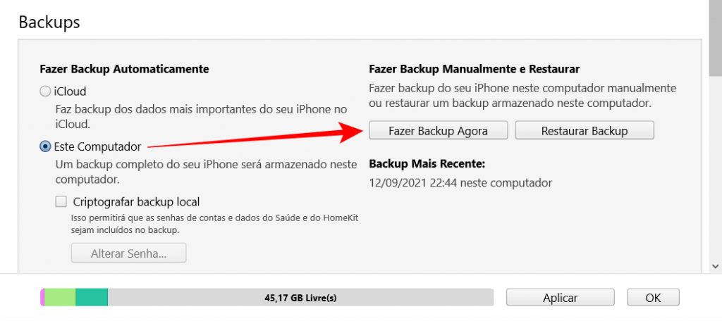 Como fazer o backup do iPhone no computador
