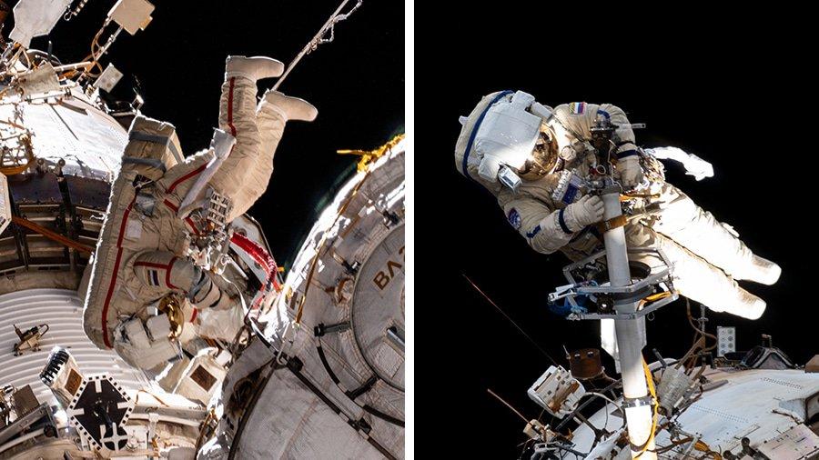 Cosmonautas Oleg Novitskiy e Pyotr Dubrov da Roscosmos começaram a integração do módulo Nauka com a ISS