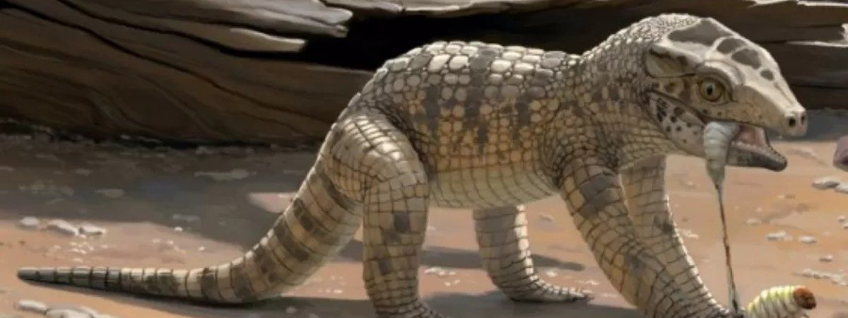 Ilustração em 3D do mini crocodilo pré-histórico encontrado em Uberaba