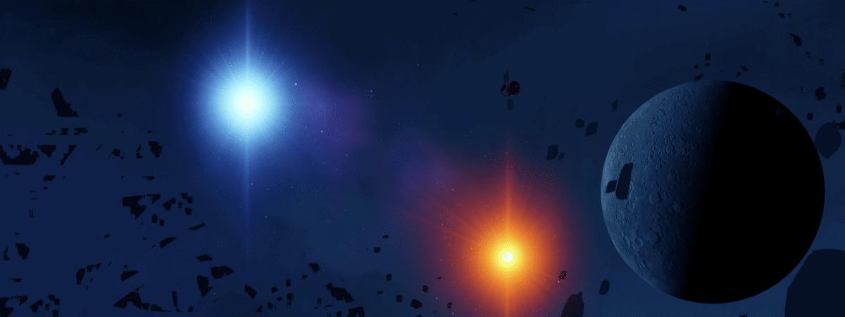 Ilustração mostra um planeta e duas estrelas, simbolizando um sistema binário