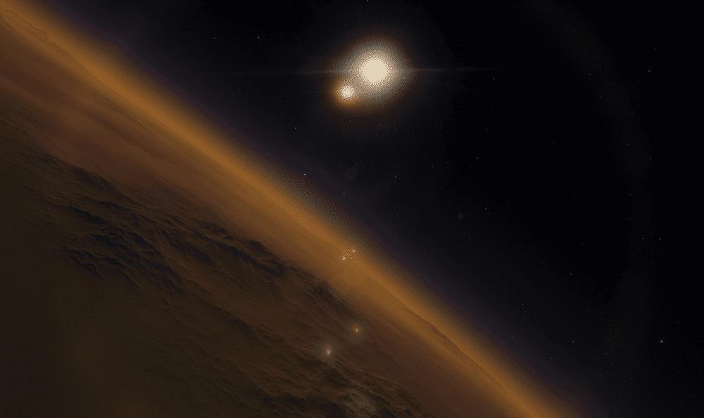 Ilustração mostra um sistema estelar binário, com estrelas iguais ao Sol