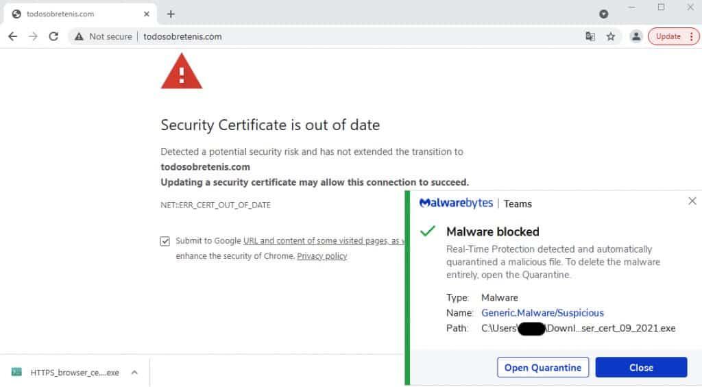 Falso aviso de certificado expirado