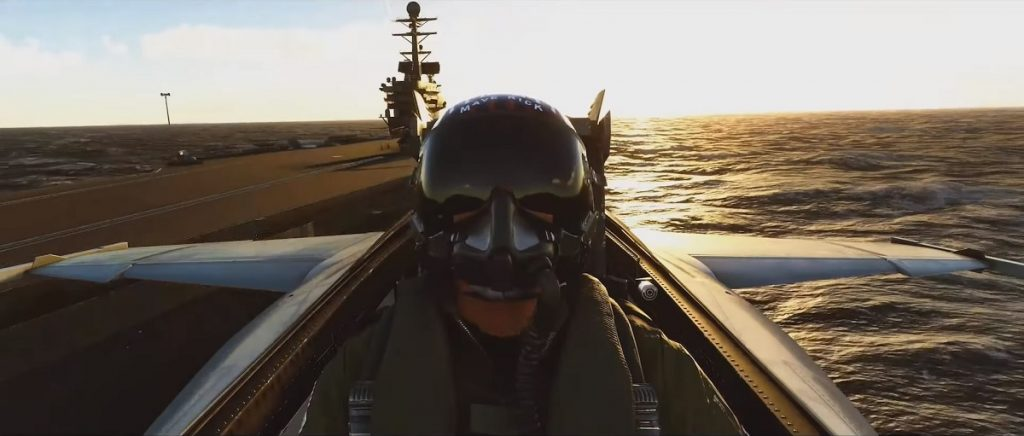 Captura de tela da expansão 'Top Gun: Maverick' do jogo 'Flight Simulator'