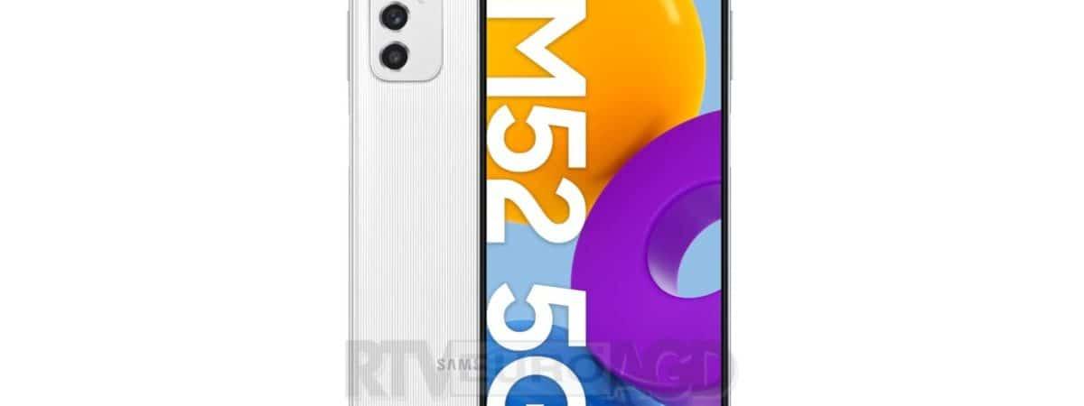 Renderização do Samsung Galaxy M52 na cor branca