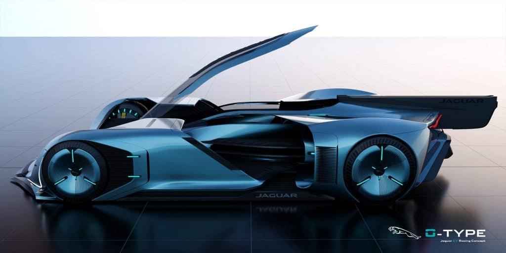 Jaguar 0-Type de lado e aberto