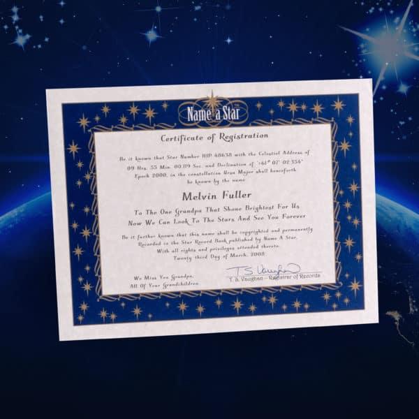 Imagem mostra um certificado de propriedade de uma estrela, mas documento não tem valor legal, oficial ou científico