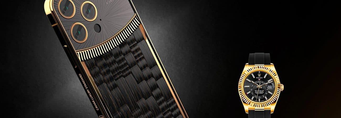 iPhone 13 ganha versão exclusiva inspirada em relógios da Rolex. Imagem: Caviar/Divulgação