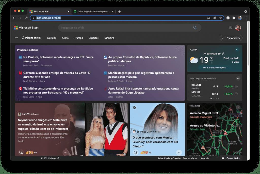 Microsoft Start (Imagem: reprodução)