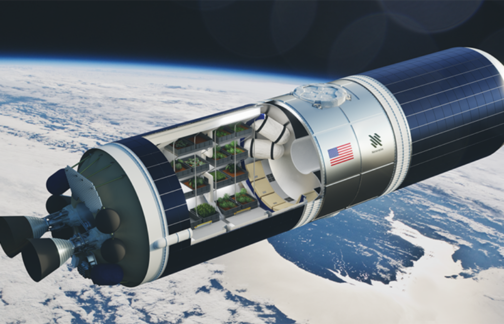 Ilustração de uma estação espacial de agricultura da Nanoracks, que criou uma empresa para a produção de comida no espaço