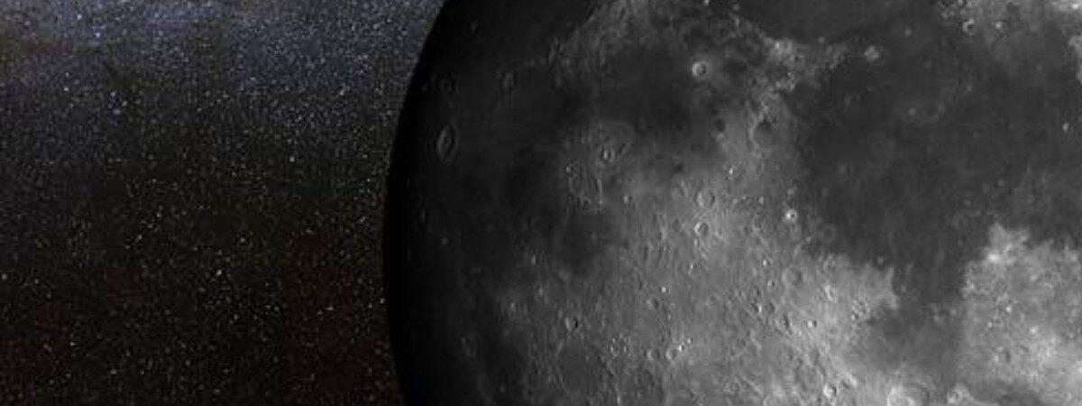 Imagem mostra recorte próximo de parte da Lua