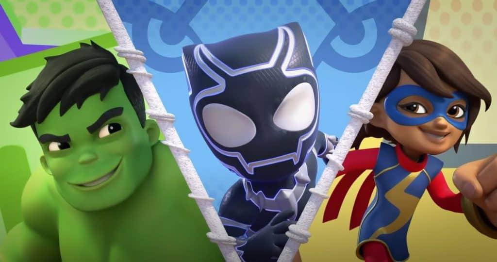 Além dos três heróis aracnídeos, o desenho animado também terá Ms Marvel, Hulk e Pantera Negra. Imagem: Disney/Divulgação