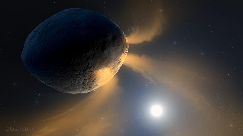 Ilustração mostra o asteroide Phaethon adquirindo seu visual de cometa