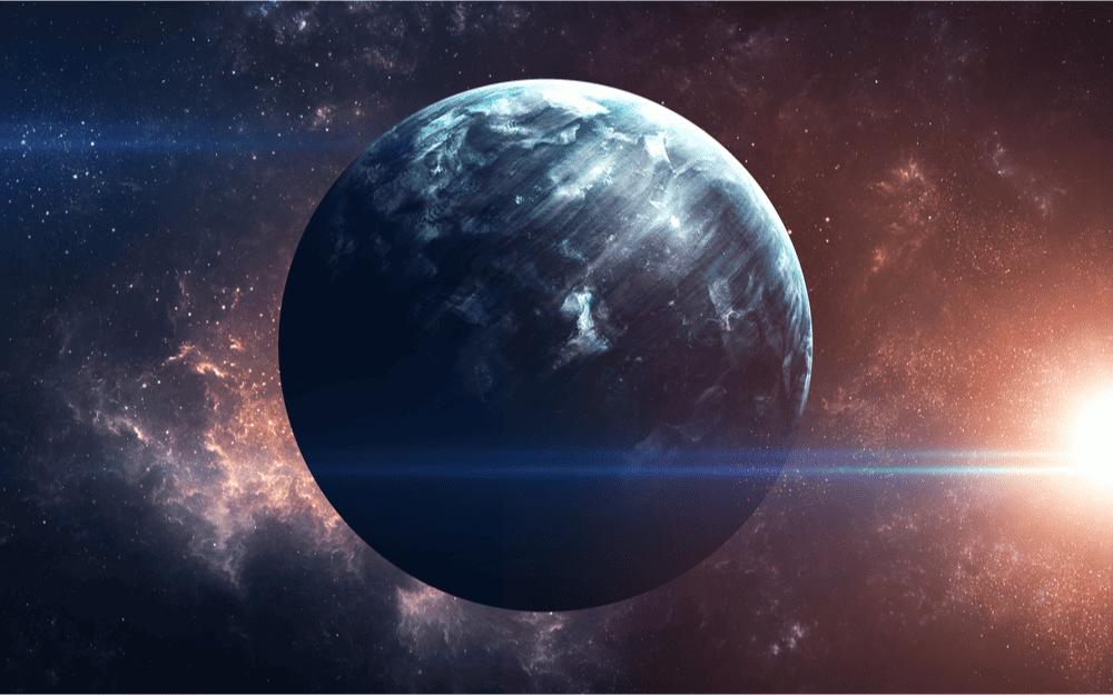 Ilustração do hipotético Planeta Nove, teoricamente presente na região do Cinturão de Kruiper, no nosso sistema solar