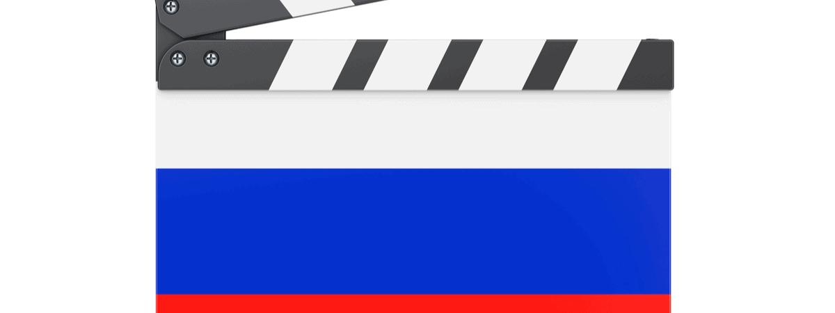 Ilustração mostra a bandeira da Rússia com um claquete de cinema em cima, simbolizando o cinema russo