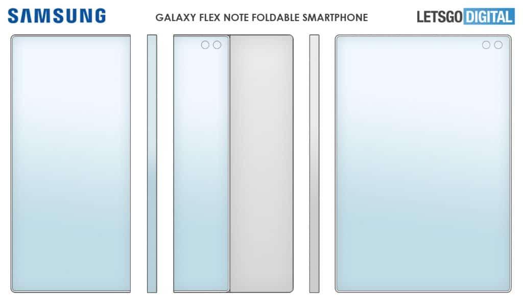 Galaxy Flex Note deve contar com uma tela extensível que envolve a traseira do smartphone. Reprodução Let's Go Digital
