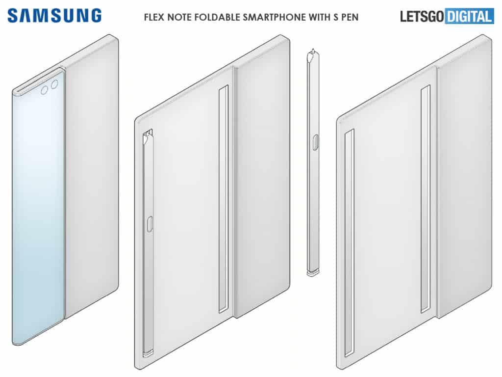 Samsung Galaxy Flex Note pode ser nova linha de smartphones dobráveis da fabricante. Reprodução: Let'sGo Digital