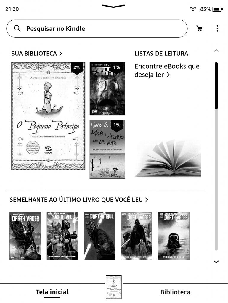 Nova interface para o Kindle (Imagem: reprodução)