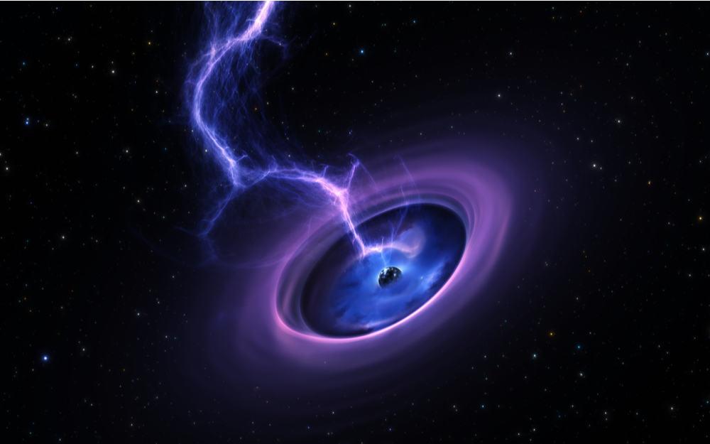 Ilustração de um feixe de energia saindo de um buraco negro supostamente inativo
