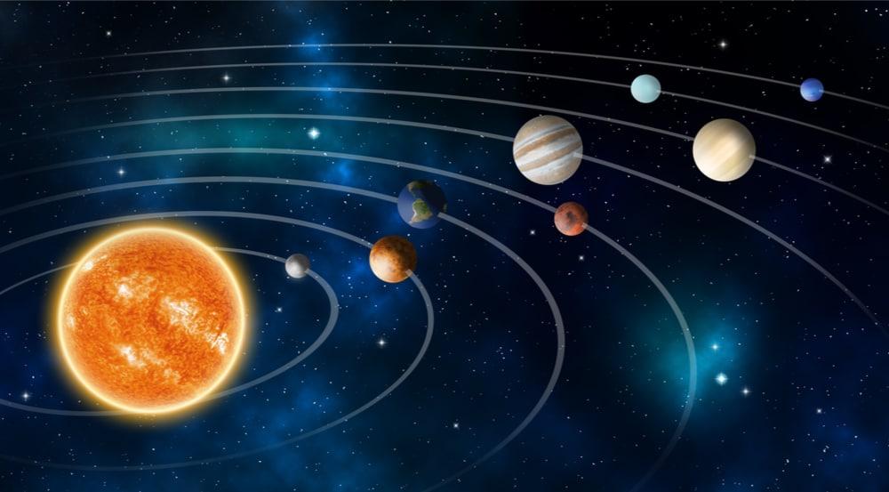 Modelo do sistema solar mostra as órbitas relativamente iguais dos planetas em relação ao Sol