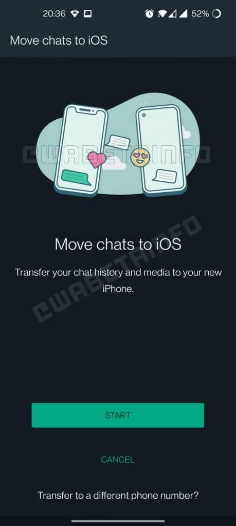 Migração de histórico no WhatsApp do Android para iPhone (Imagem: reprodução/WABetaInfo)