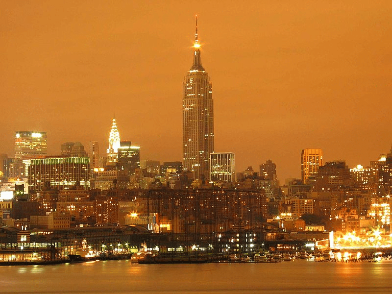 New York sky lit by the city's light pollution