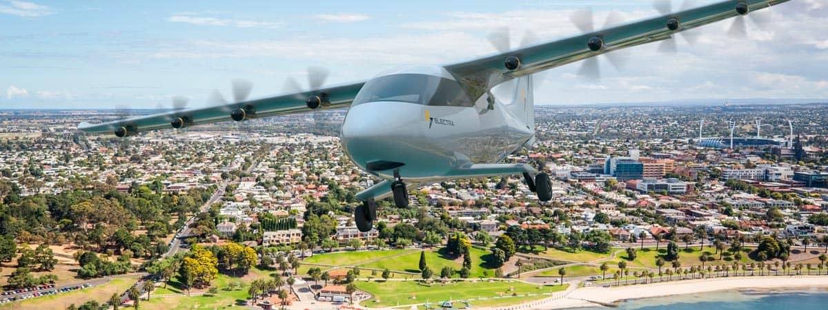 aeronave sobrevoando Melbourne, na Austrália, num dia de sol