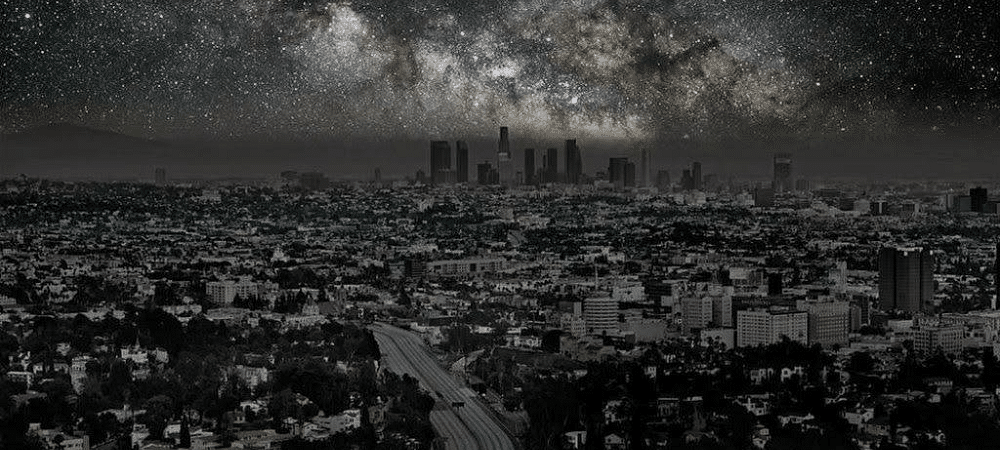 Photomontage showing how we would see Los Angeles without light at night