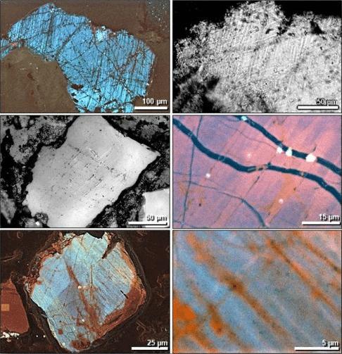 Imagens de microscópio eletrônico de numerosas pequenas rachaduras em grãos de quartzo