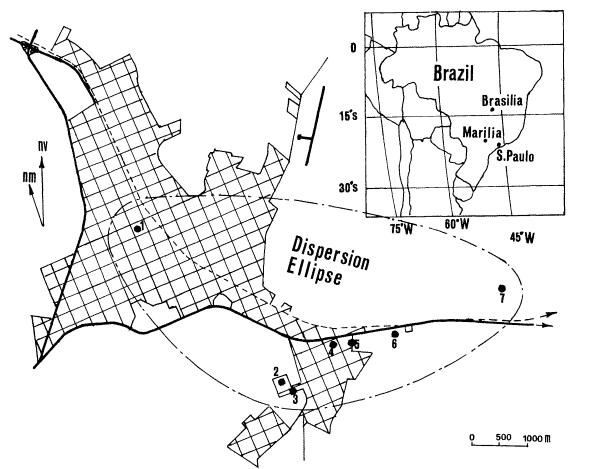Mapa com a área de dispersão dos meteoritos e com a localização dos fragmentos recuperado pelo Prof. Avanzo logo após a queda