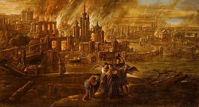 Sodoma e Gomorra em chamas por Jacob de Wet II, 1680