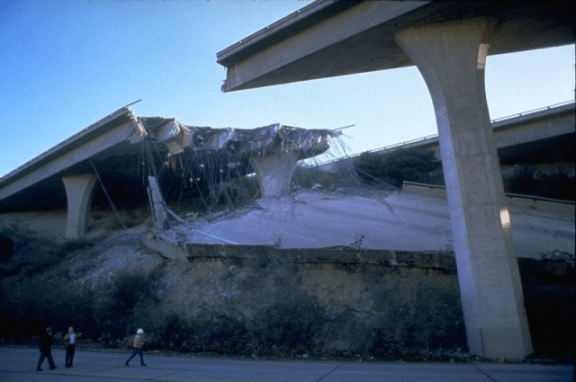 Golden State Freeway Viaduct partially collapsed during earthquake