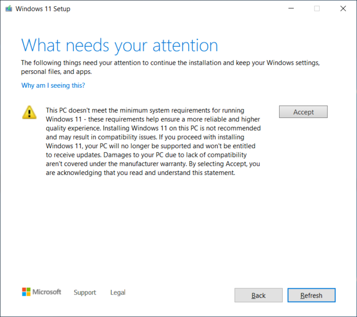 Windows 11, alerta para instalação em dispositivos incompatíveis