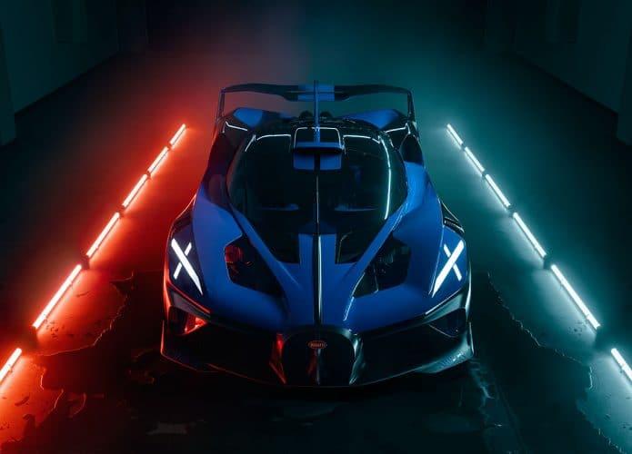 conceito do bugatti bolide numa garagem