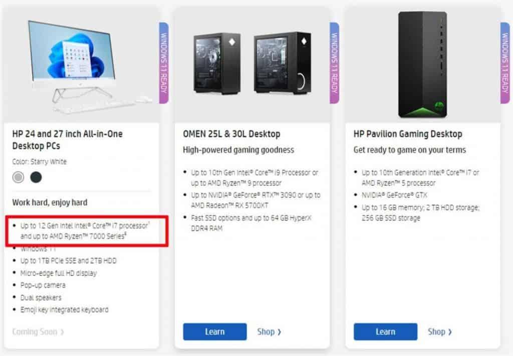 HP lista processadores Ryzen 7000 em modelos All in One. Imagem: HP/Reprodução