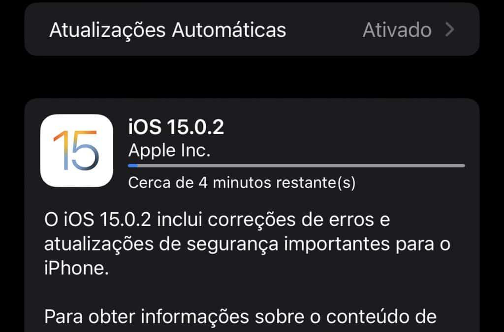 iOS 15.0.2 no iPhone (Imagem: reprodução)